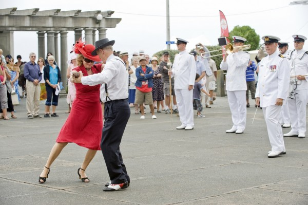 Dancing couple at a parade in New Zealand