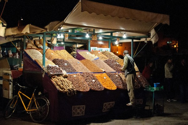 Fruit vendor at Marrakech bazaar