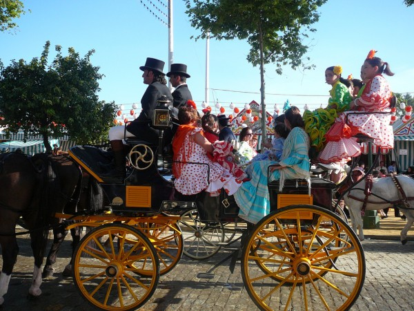 Carriage with Sevillan women at the Feria de Abril